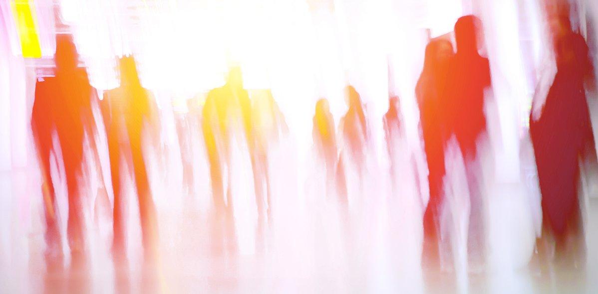 Abstrakte Darstellung der Geschäftsleute in gelben, orangenen und roten Tönen