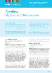 Detailanzeige: FactSheet Alkohol: Mythen und Meinungen (Stand: Januar 2019)
