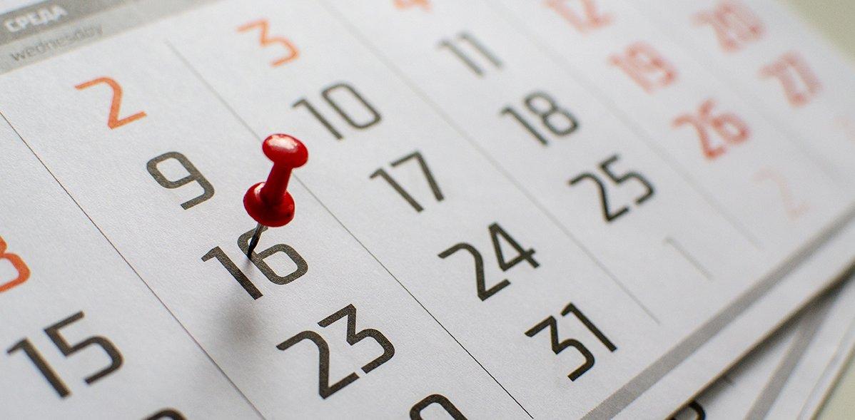Nahaufnahme eines Kalenderblatts
